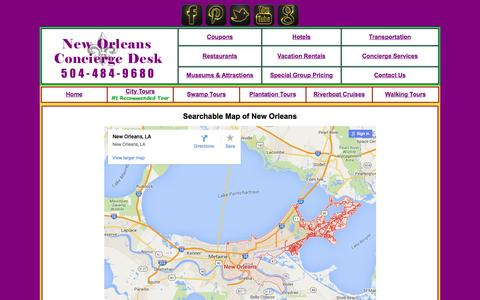Screenshot of Maps & Directions Page neworleansconciergedesk.com - New Orleans Concierge Desk.com/New Orleans map - captured Feb. 26, 2016