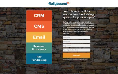Screenshot of Landing Page rallybound.com - Nonprofit Fundraising Technology Stack - captured May 29, 2018