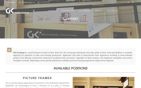 Screenshot of Jobs Page gkframing.com - Careers: Start your ideal job today by becoming a picture framer or sales rep - captured July 10, 2017