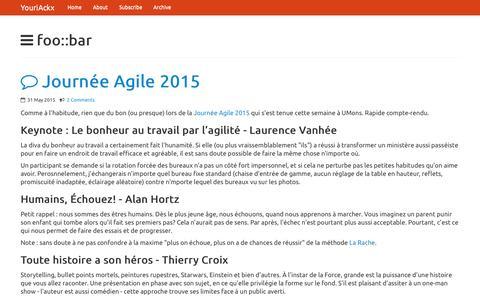 Screenshot of Blog ackx.net - foo::bar @YouriAckx - captured June 21, 2015