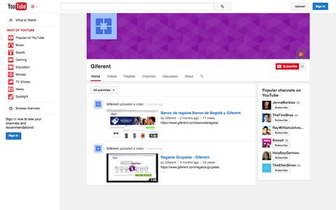 Screenshot of YouTube Page youtube.com - Giferent  - YouTube - captured Oct. 22, 2014