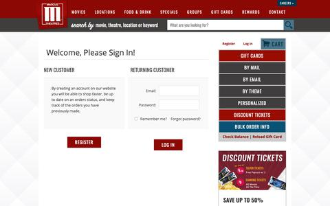 Screenshot of Login Page marcustheatres.com - Marcus Theatres. Login - captured Oct. 21, 2018