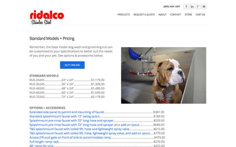 Screenshot of Pricing Page ridalco.com - RIDALCO | Dog Grooming Sink Pricing - RIDALCO | Stainless Steel - captured Oct. 26, 2017