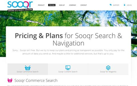 Screenshot of Pricing Page sooqr.com - Pricing for Commerce Search by Sooqr - captured Nov. 16, 2016