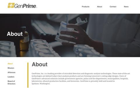 Screenshot of About Page genprime.com - GenPrime - A leading provider of microbial detection and diagnostic analysis technologies. - captured Sept. 27, 2018