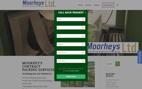 Screenshot of Services Page moorheys.co.uk - Services - Moorheys - captured Sept. 20, 2018