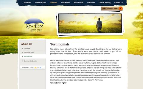 Screenshot of Testimonials Page newhopefh.com - Testimonials | New Hope Funeral Home - Sunnyvale, TX - captured Oct. 26, 2014