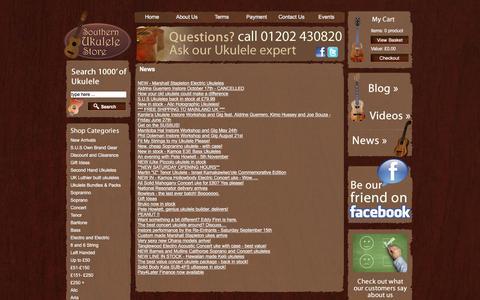 Screenshot of Press Page southernukulelestore.co.uk - News | Southern Ukulele Store - captured March 13, 2016
