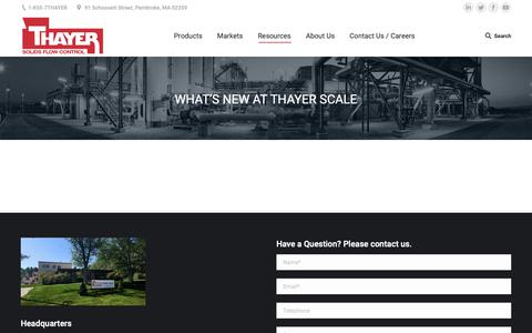 Screenshot of Press Page thayerscale.com - What's New at Thayer Scale - Thayer Scale - captured Oct. 18, 2018