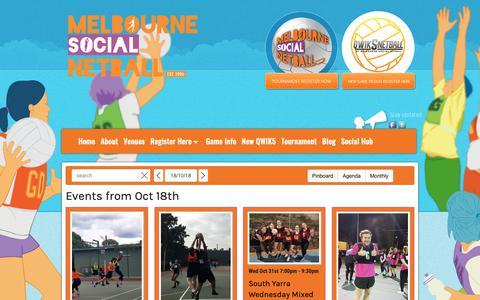 Screenshot of Home Page melbournenetball.com - Play Netball | Australia | Melbourne Social Netball - captured Oct. 17, 2018