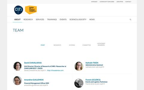 Screenshot of Team Page iscpif.fr - ISC-PIF Team – Institut des Systèmes Complexes de Paris Île-de-France - captured Oct. 12, 2018