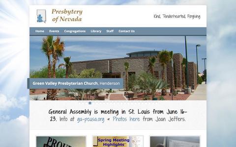 Screenshot of Home Page nevadapresbytery.org - Presbytery of Nevada – Kind, Tenderhearted, Forgiving - captured June 29, 2018