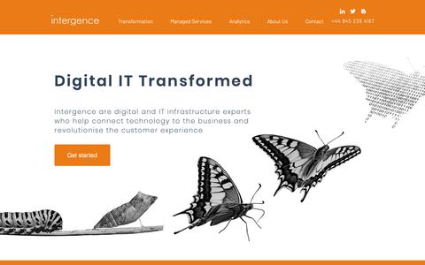 Screenshot of Home Page intergence.com - Digital Consultancy and Services | Cambridge | Intergence Systems - captured Oct. 12, 2018