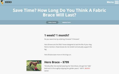 Screenshot of Pricing Page goherogo.com - Hero Braces - Order - captured July 8, 2017