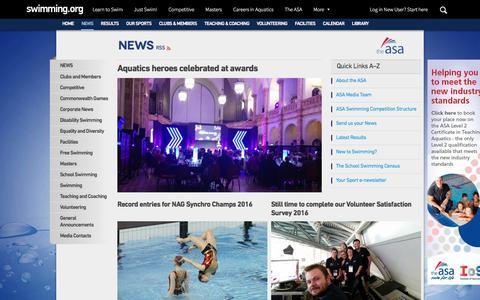 Screenshot of Press Page swimming.org - News | The ASA - captured Nov. 28, 2016
