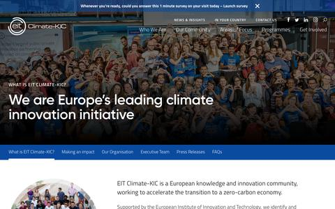 Screenshot of About Page climate-kic.org - What is EIT Climate-KIC? - Climate-KIC - captured July 19, 2018