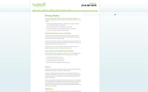 Screenshot of Privacy Page butterflyenergyworks.com - Privacy Policy - captured Oct. 27, 2014