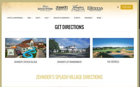 Screenshot of Maps & Directions Page zehnders.com - The Fortress Golf Course   Directions   Frankenmuth, MI   Zehnder's of Frankenmuth - captured Oct. 29, 2016