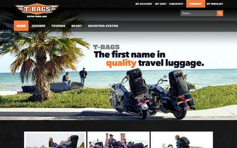 Screenshot of Home Page tbags.com - T-Bags - custom motorcycle luggage Home page - captured Oct. 9, 2014