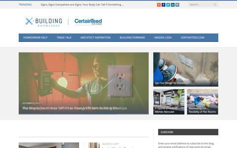 Screenshot of Blog certainteed.com - Building Knowledge | CertainTeed Corporation\'s Official Blog - captured Nov. 23, 2017