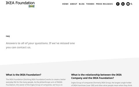 Screenshot of FAQ Page ikeafoundation.org - FAQ | IKEA Foundation - captured June 6, 2019
