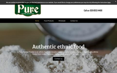 Screenshot of Home Page pureglobalfoods.com - Pure Global Foods in London your ethnic food wholesaler - captured July 18, 2016