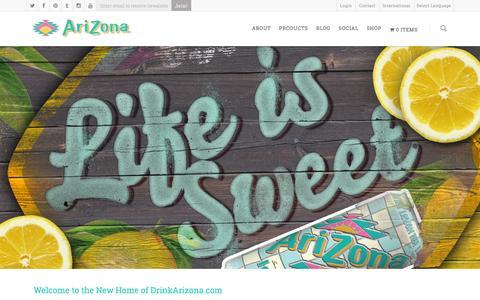 Screenshot of About Page drinkarizona.com - About AriZona Beverages - AriZona Beverages | America's No. 1 Selling Iced Tea Brand - captured Jan. 16, 2016