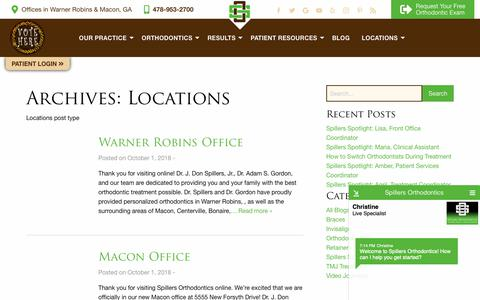 Screenshot of Locations Page drspillers.com - Locations Archive - Spillers Orthodontics - captured Nov. 16, 2018