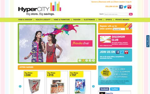 Screenshot of Home Page hypercityindia.com - HyperCITY Retail Stores, Supermarket, Super Store, Shopping centre in India - captured Sept. 23, 2014