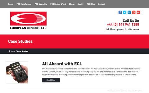 Screenshot of Case Studies Page european-circuits.co.uk - Case Studies Archives - European Circuits - captured Oct. 17, 2016