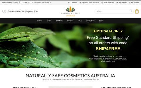 Screenshot of Home Page naturallysafe.com.au - Natural & Organic Beauty Products | Naturally Safe Cosmetics - captured Jan. 11, 2019