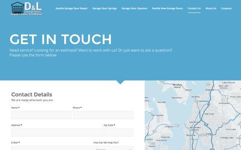 Screenshot of Contact Page seattlegaragedoorrepairservice.com - Seattle Garage Door Repair Contact Us (206) 494-5958 - captured Jan. 26, 2016