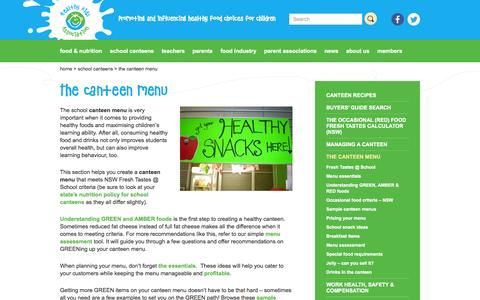 Screenshot of Menu Page healthy-kids.com.au - The canteen menu - Healthy Kids - captured Oct. 2, 2014