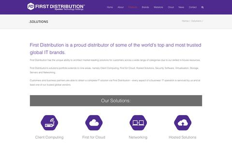 Screenshot of Products Page firstdistribution.com - .Solutions - - captured June 6, 2017