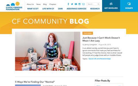 Screenshot of Blog cff.org - CF Community Blog | CF Foundation - captured Aug. 20, 2019