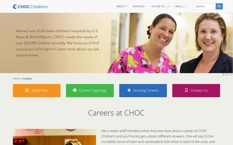 Screenshot of Jobs Page choc.org - Careers - CHOC Children's - captured Jan. 17, 2016