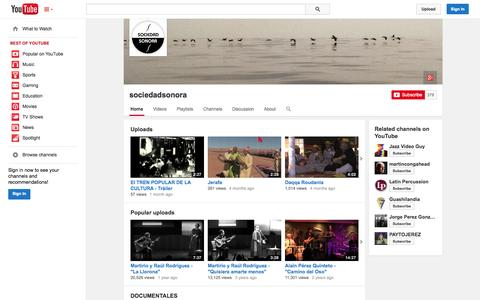 Screenshot of YouTube Page youtube.com - sociedadsonora  - YouTube - captured Oct. 26, 2014