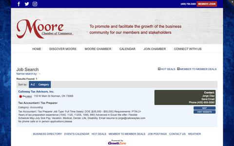 Screenshot of Jobs Page moorechamber.com - Job Search - – Moore Chamber of Commerce - captured Nov. 26, 2018