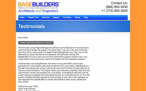 Screenshot of Testimonials Page basebuilders.com - Testimonials | Base BuildersBase Builders - captured Oct. 5, 2014