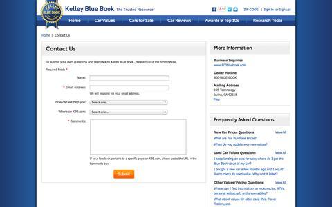 Screenshot of Contact Page kbb.com - Contact Us - Kelley Blue Book - captured Oct. 23, 2014