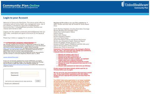 Screenshot of Home Page americhoice.com - Community Plan Online - SiteMInder Login - captured Oct. 1, 2015
