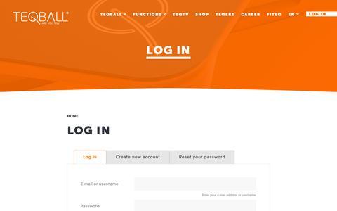 Screenshot of Login Page teqball.com - Log in - captured Dec. 20, 2018