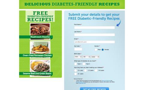 Screenshot of Landing Page everydayhealth.com - Everyday Health | Register to receive free diabetes friendly Recipes - captured June 24, 2016