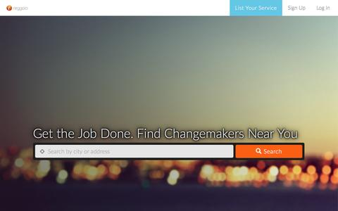 Screenshot of Home Page reggalo.com - Get the Job Done. Find Changemakers Near You - captured Jan. 27, 2015