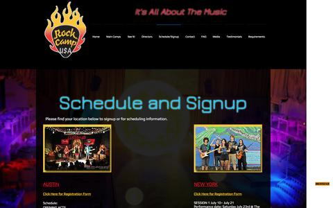 Screenshot of Signup Page rockcampusa.com - Rock Camp USA - Summer schedule and registration signup - captured April 16, 2017