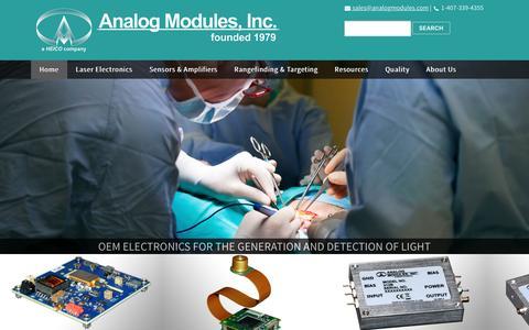 Screenshot of Home Page analogmodules.com - Analog Modules, Inc. | OEM Laser and Sensor Electronics | Home - captured Jan. 23, 2017