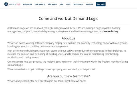 Screenshot of Jobs Page demandlogic.co.uk - Demand Logic Limited - captured Oct. 8, 2018