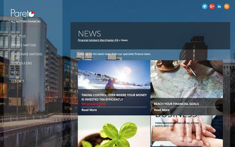 Screenshot of Press Page paretofp.co.uk - News - Pareto FP - captured March 25, 2018