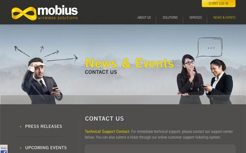 Screenshot of Contact Page mobiusws.com - Contact Us  | Mobius - captured Oct. 7, 2014