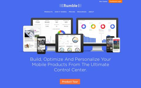 Screenshot of Home Page rumble.me - Rumble - The Smart Mobile Management System - captured Oct. 2, 2015